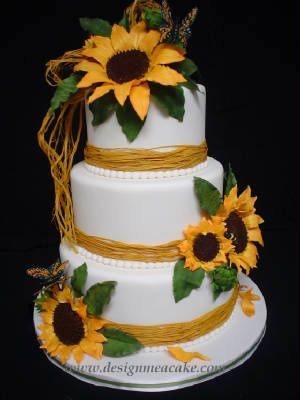 Sunflower Wedding Cake Perfect for Country Themed Weddings