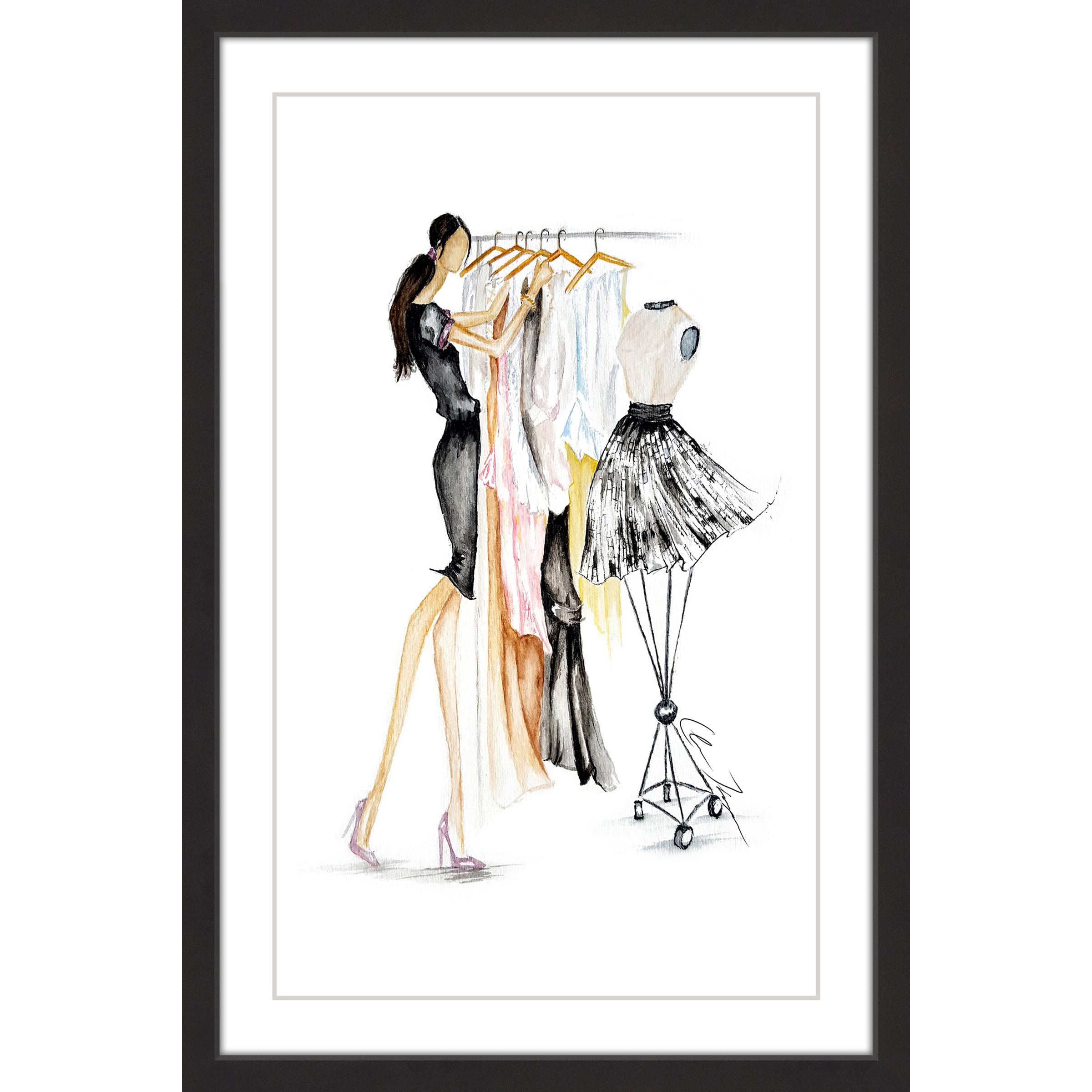 Marmont hill uclothes racku by claire thompson framed painting