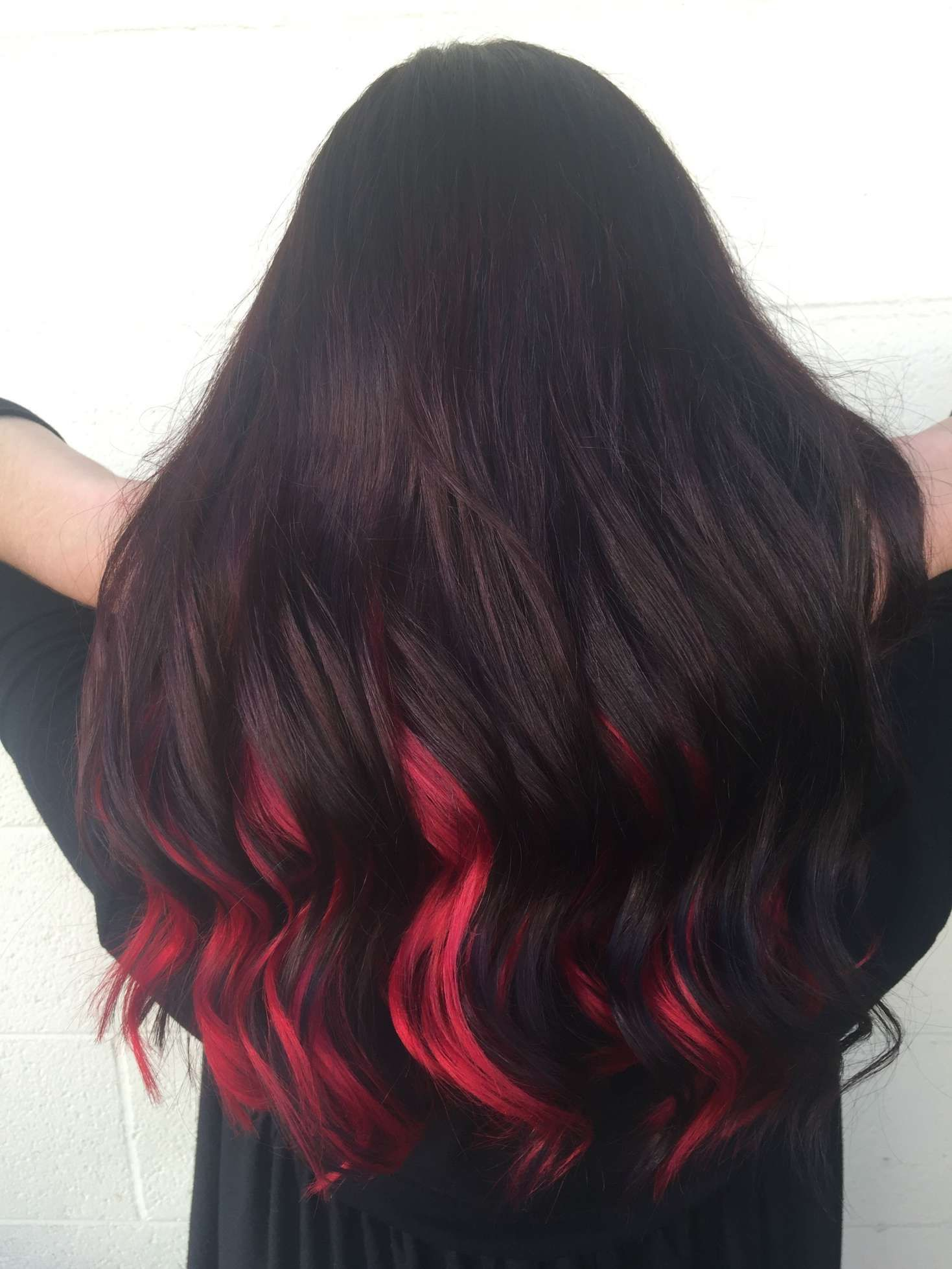 15 Top Black Hair With Red Underneath Gallery Red Hair Underneath Black Red Hair Hair Color For Black Hair