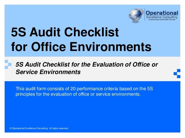 office 5s audit checklist by operational excellence