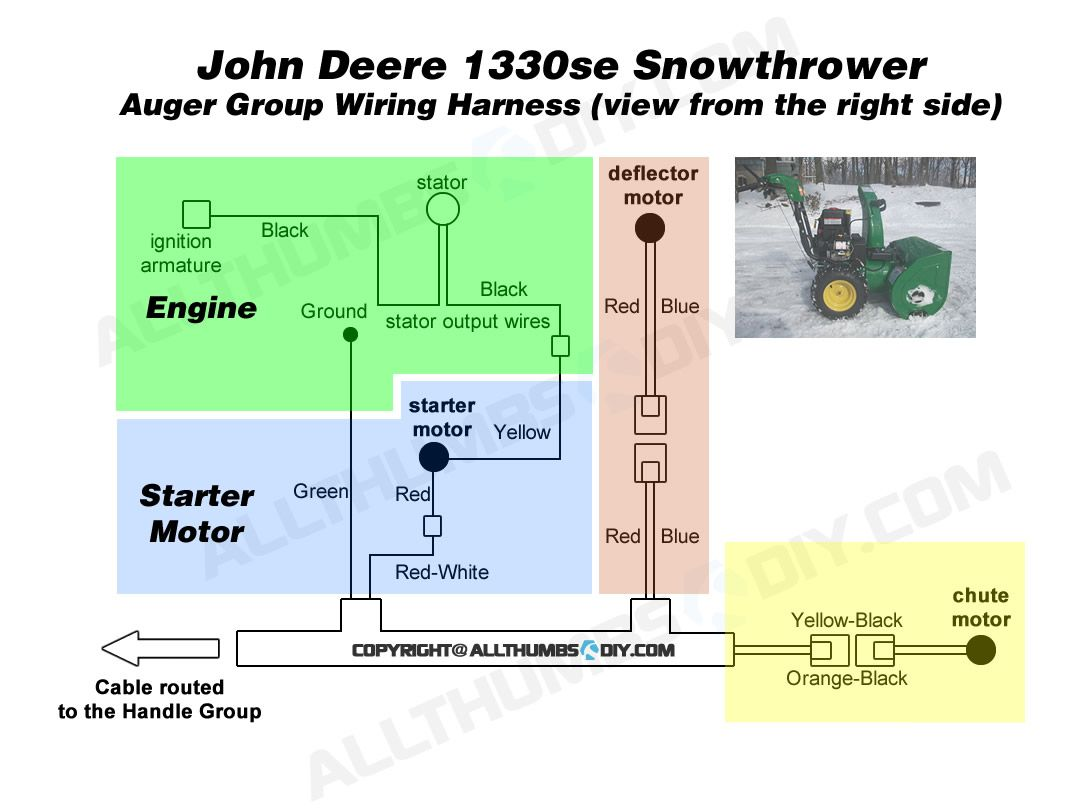 John Deere 1330se Snowblower Wiring Harness For The Auger Group 210