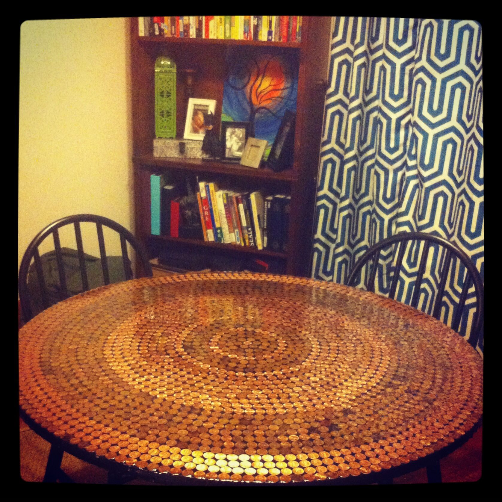 Handmade Penny Table Resin Poured Overtop Penny Decor