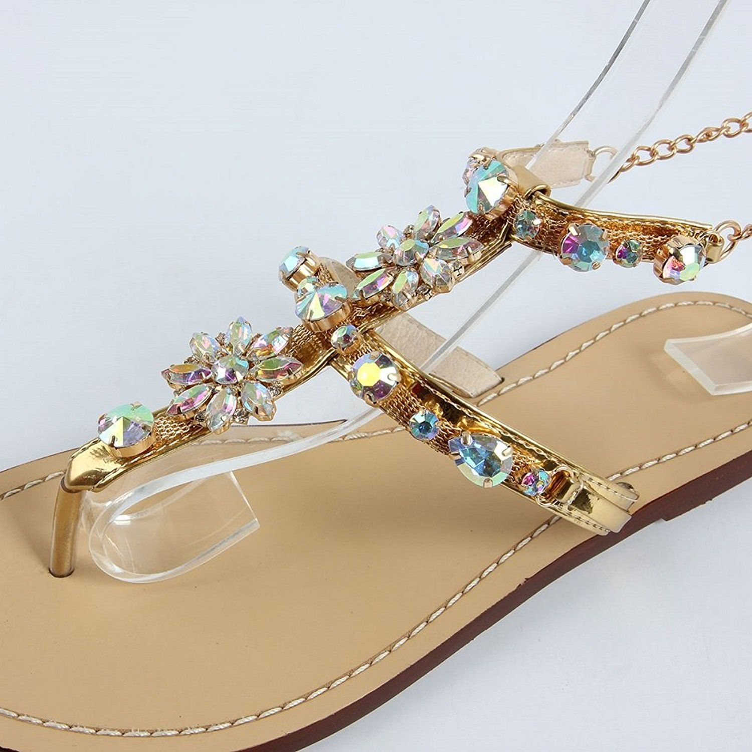 6e1c675aa21476 2017 Woman Sandals Women Shoes bling Swarovski Rhinestones Chains Thong  Gladiator Flat Sandals     Continue to the product at the image link.