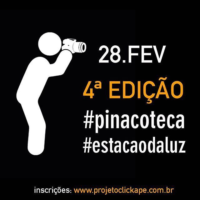 A 4a edição do @clickape já está marcada! Dessa vez o passeio fotográfico será na #pinacoteca e na #estacaodaluz. Inscrições abertas no nosso site www.projetoclickape.com.br. É gratuito! Participem!
