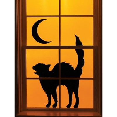 black cat window silhouette halloween - Black Cat Silhouette Halloween