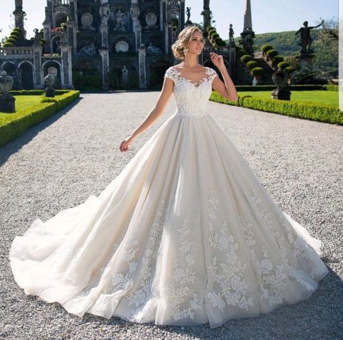 Wedding Dresses White Ivory V Neck Bridal Ball Gowns Plus Size 0 4