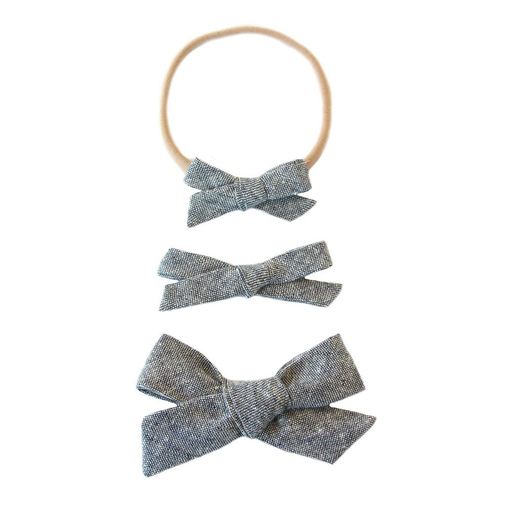 Denim Chambray Classic Bow/Headband