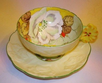 Handpainted Flower Handle Gardenia Paragon Tea Cup and Saucer