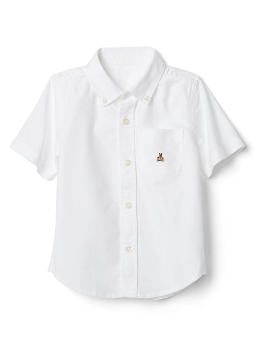 Gap Baby Oxford Short Sleeve Shirt White | Toddler boy tops