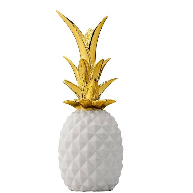 Pineapple White And Gold Ceramics Decor Trends Summer Decorate The Home Kitchen Decor Bathroo Ceramic Pineapple Pineapple Decor White Ceramic Pineapple