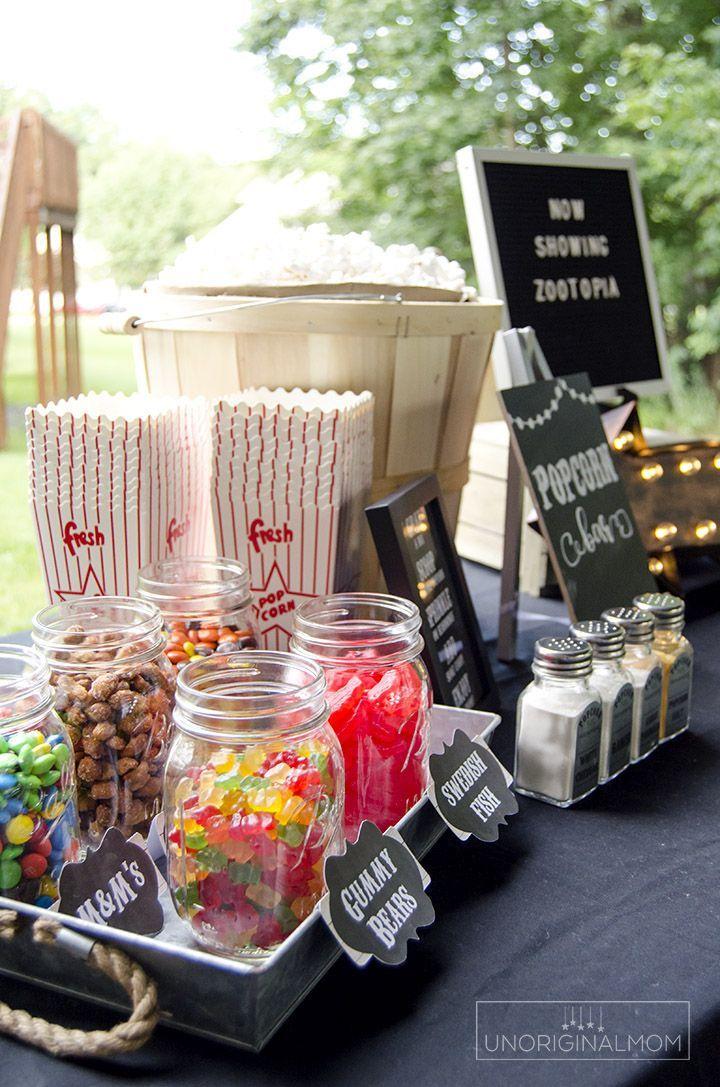 Photo of Outdoor Movie Night Popcorn Bar with Free Printables – unOriginal Mom