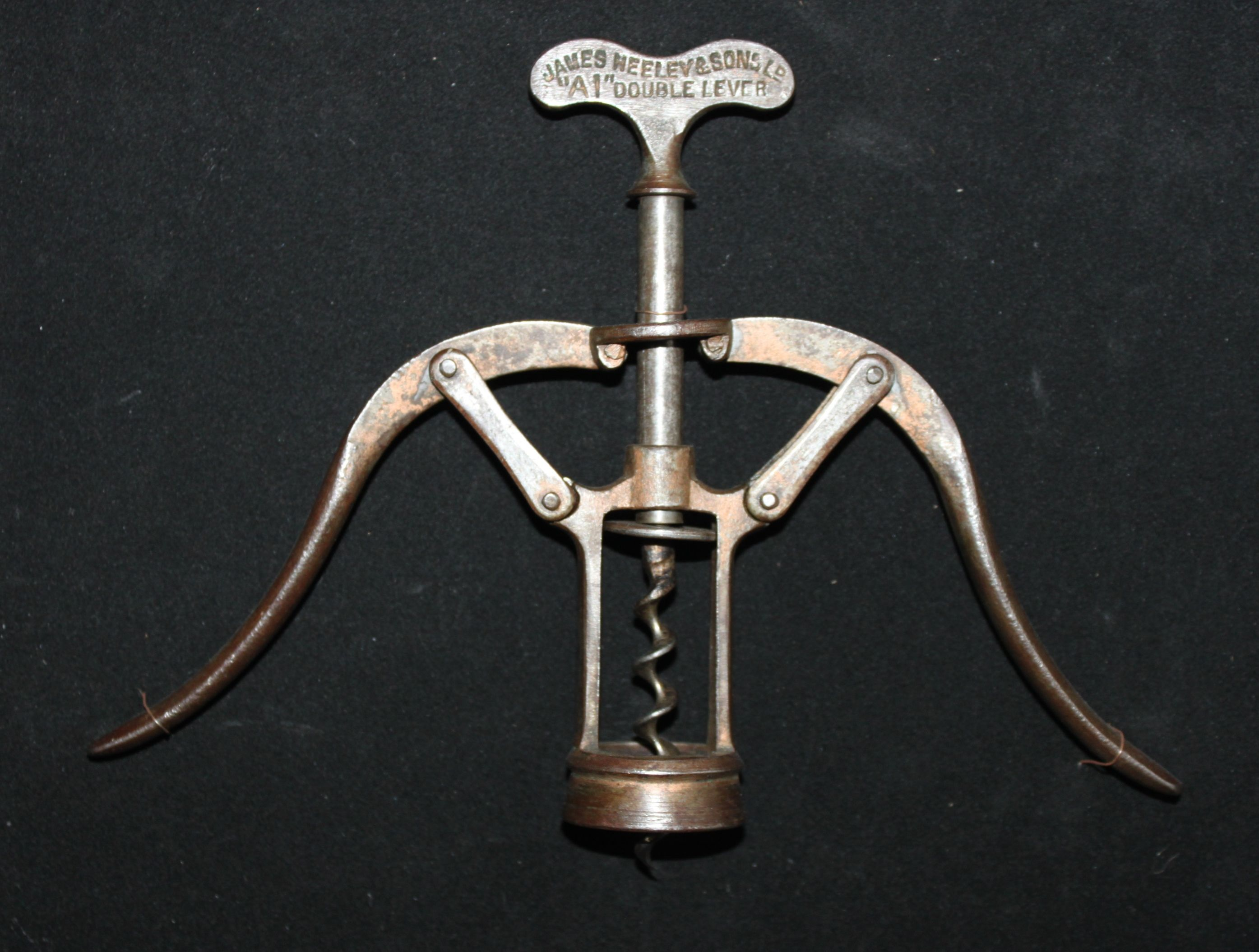 "1885 Antique Corkscrew James Heeley & Sons Copper finish ""A1"" Double Lever with Bladed Worm"