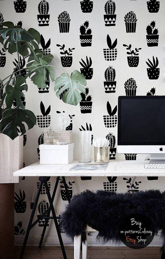 Geometric Cacti Pattern Simple Black And White Wallpaper Etsy White Wallpaper Black And White Wallpaper Wallpaper