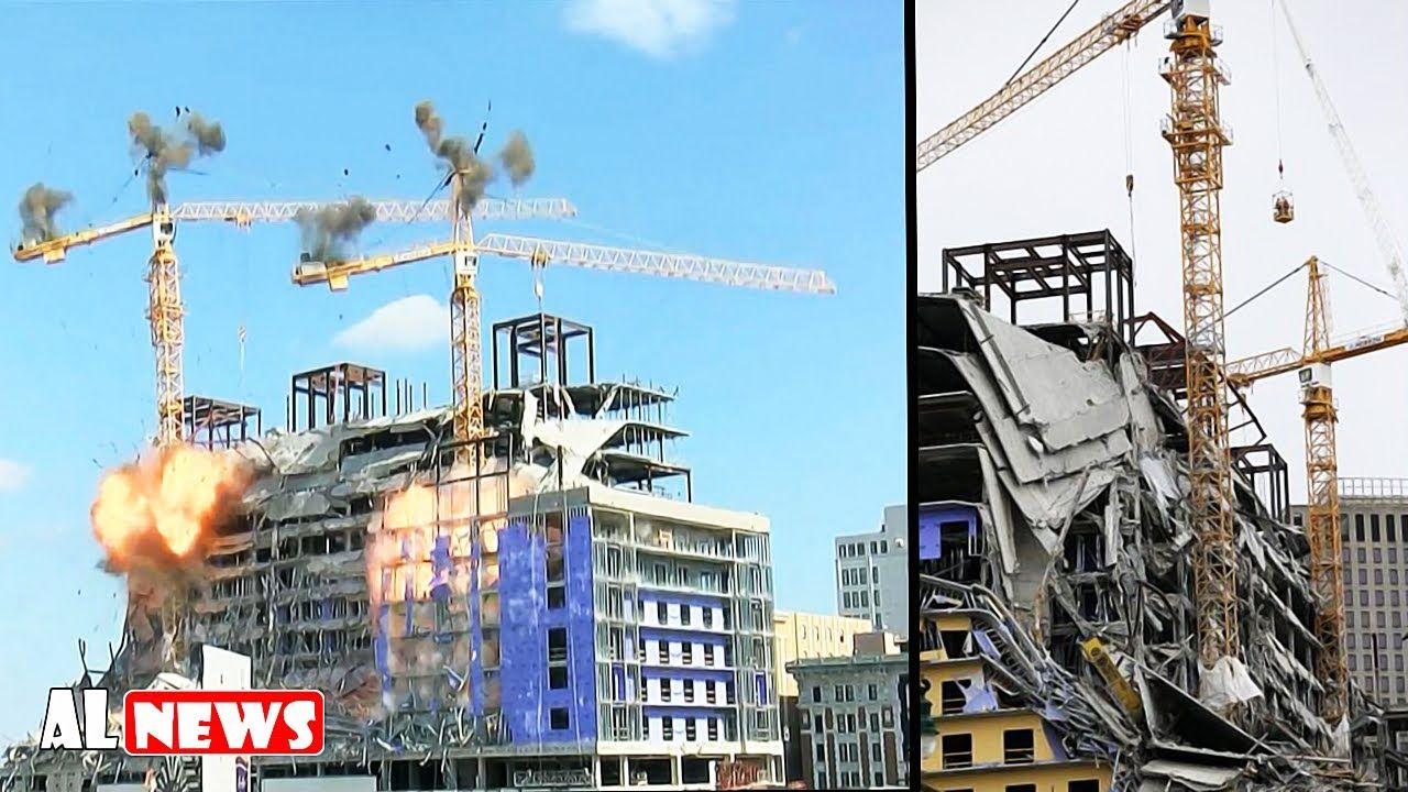 New Orleans Officials Blow Up Giant Cranes At Hard Rock Hotel