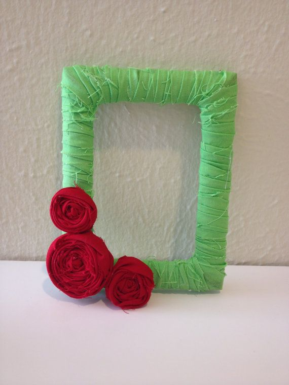 4x6 Fabric Wrapped Frame with Fabric Flowers | Fabric flowers