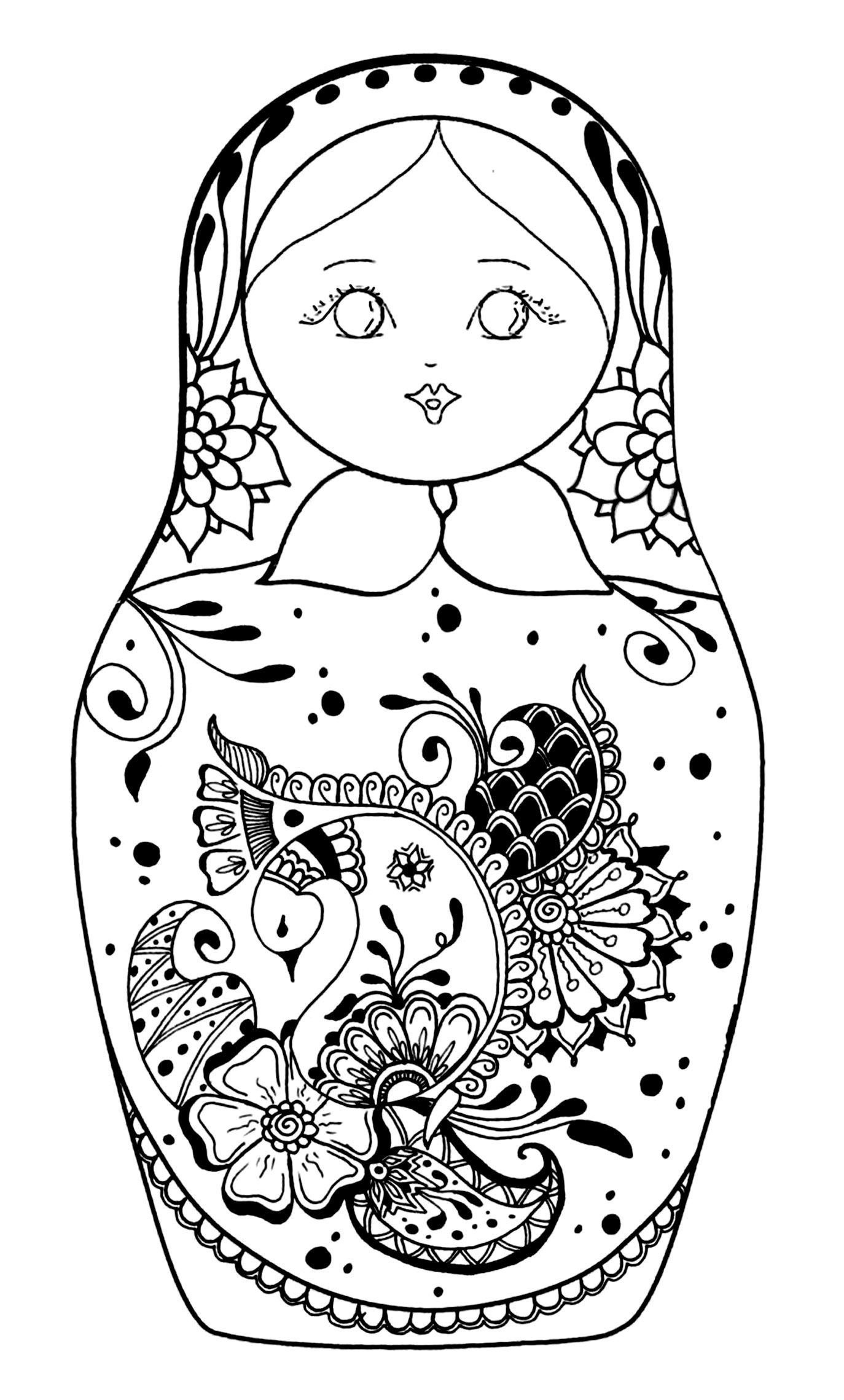 Free Coloring Page Coloring Russian Dolls 5
