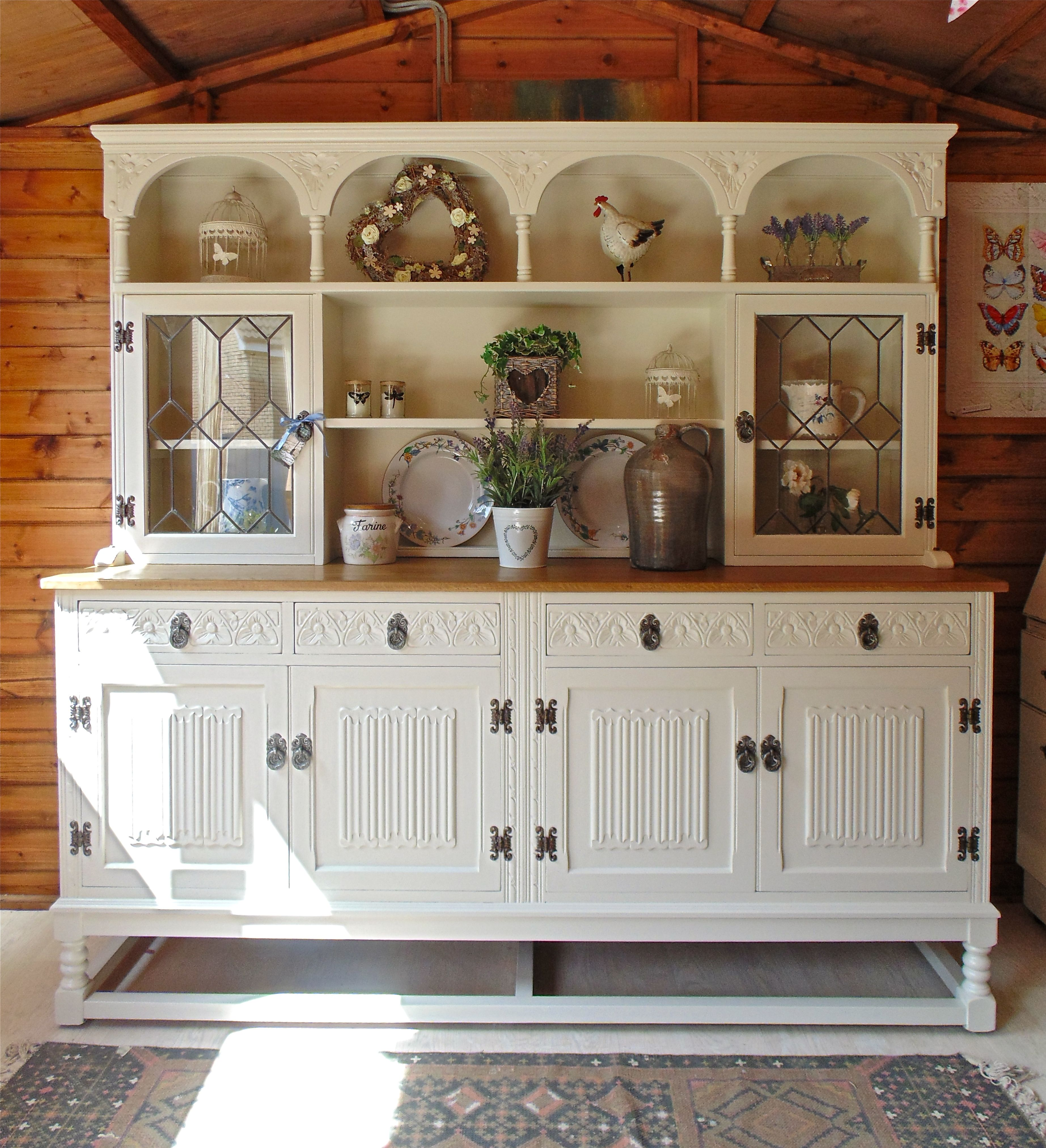 Large Old Charm Linenfold Rose Dresser Given A New Lease Of Life