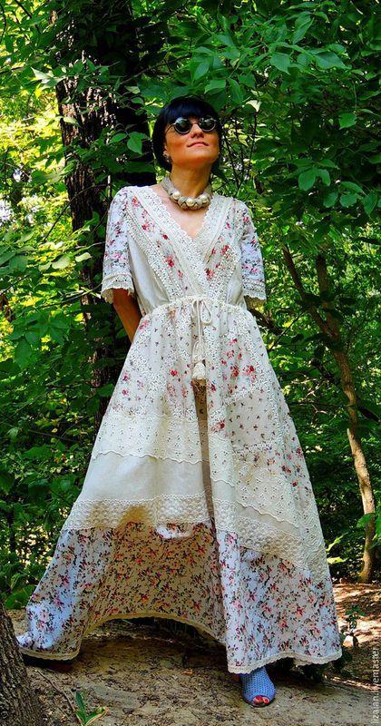 Платья ручной работы. Ярмарка Мастеров - ручная работа. Купить Летнее БОХО  платье из льна ebda806dbab