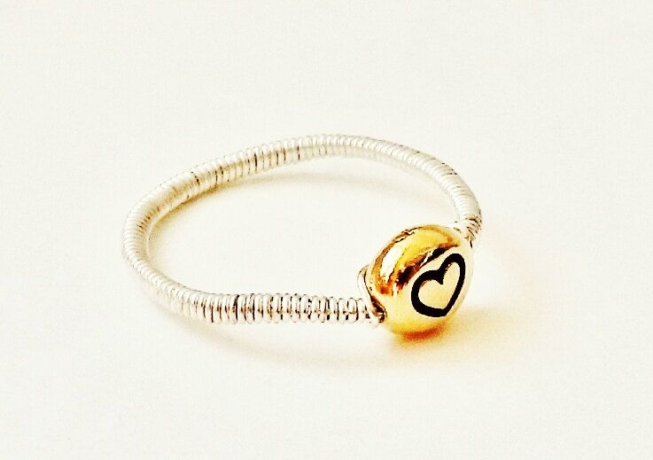 Silver stackable ring Gold heart stacking ring Gold and Silver