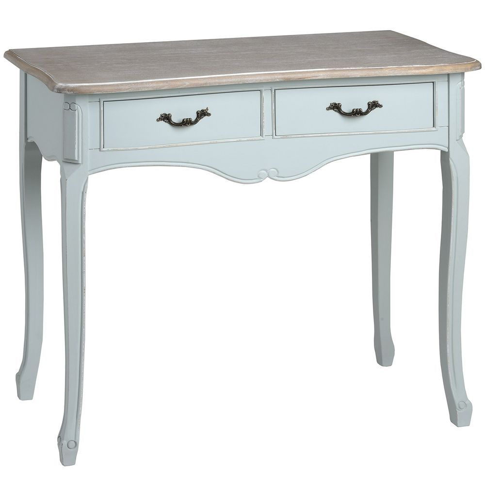 2 Drawer Console Dressing Table French Vintage Cottage Shabby Chic Duck Egg  Blue