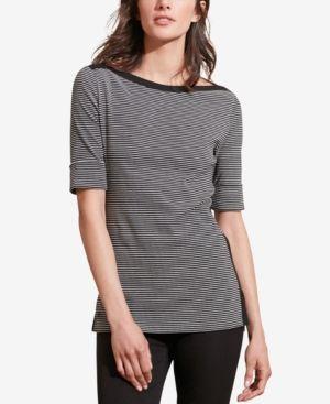 Lauren Ralph Lauren Striped Stretch T-Shirt - Black/Cream XS