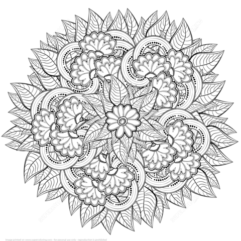 Abstract Flowers Zentangle Coloring Page From Zentangle Category Mandala Coloring Pages Flower Coloring Pages Mandala Coloring