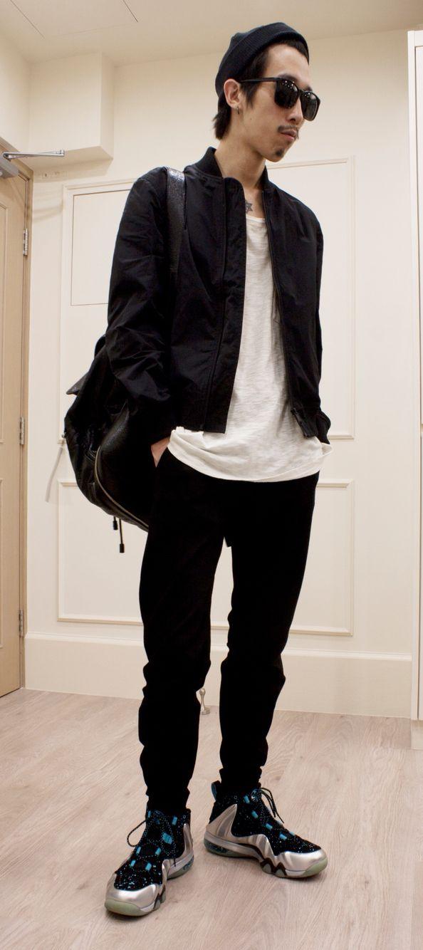 beanie muji bomber jacket muji tee hm trousers