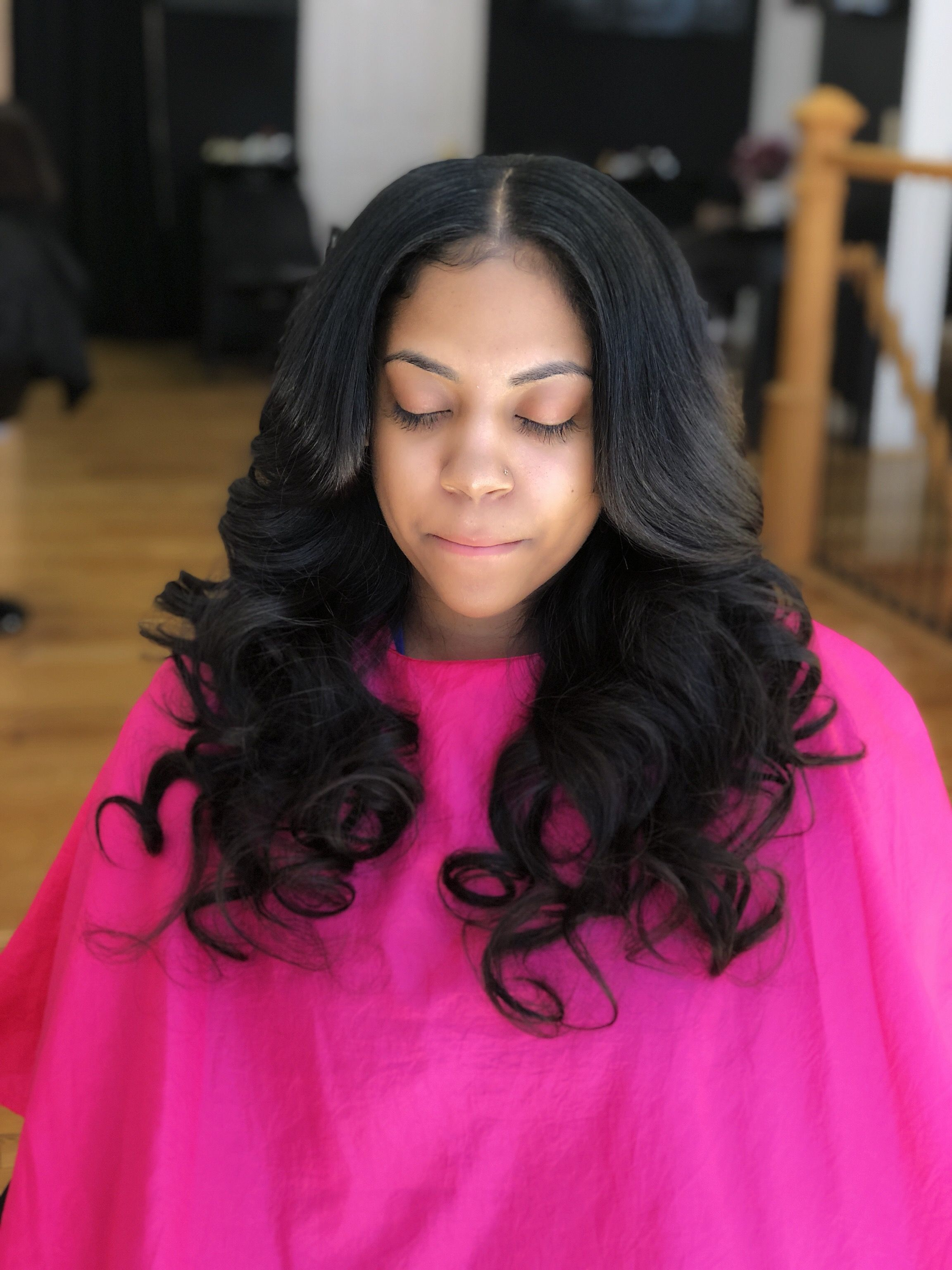 sew-in with middle part @ pinkandblackhairstudio