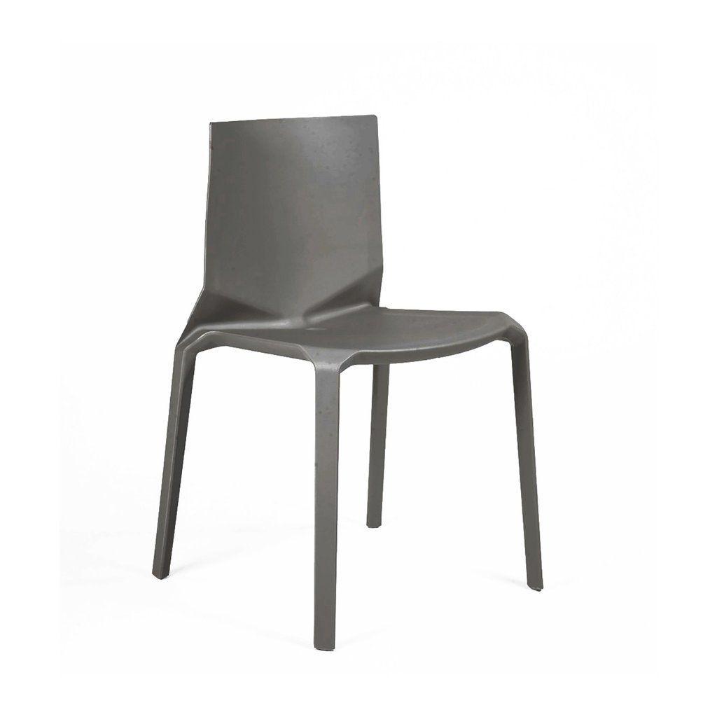 Vector Dark Grey Modern Stackable Side Chair Set Of 4 Brand New