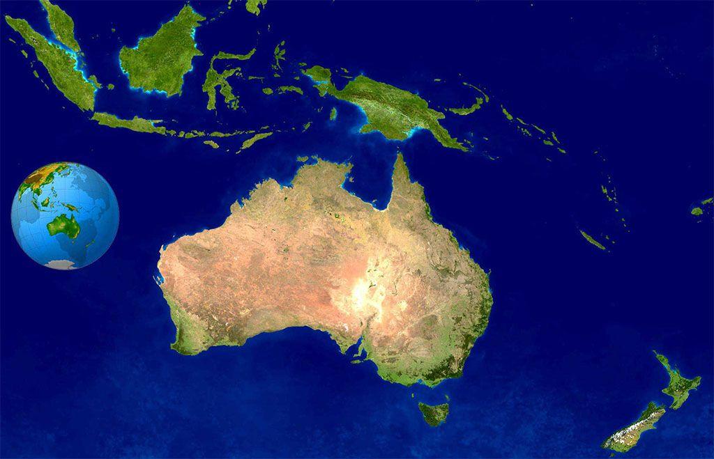 Satellite Map of Australia and Oceania Satellite