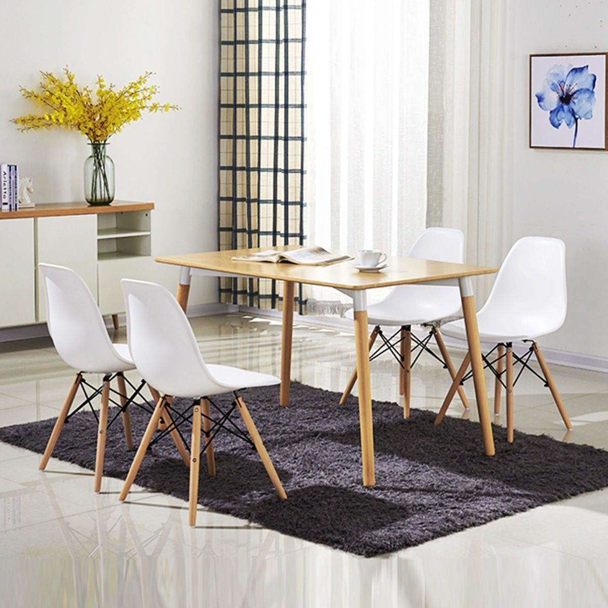 Weiße Möbel: Neu 4er Stuhl DEKO Retro Esszimmerstühle Wohnzimmerstuhl