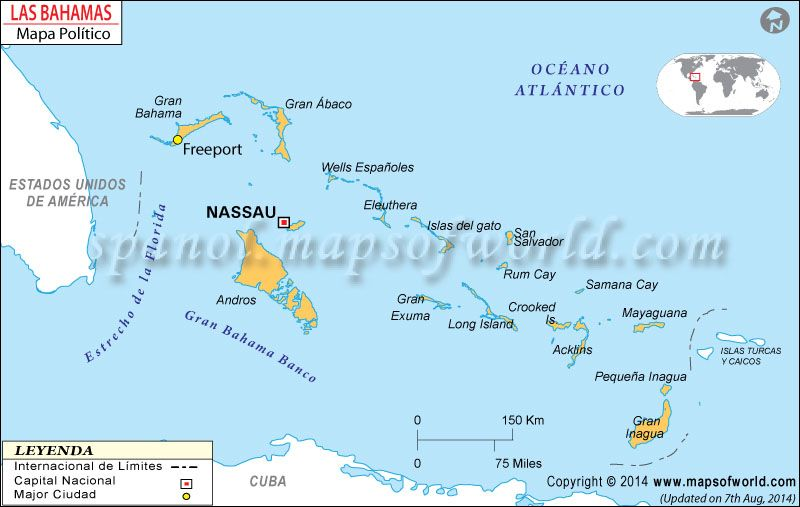 Bahamas Mapa in 2019 | Mapa de Países | Map, Greater antilles ...