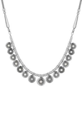 Lucky Brand Pearl Collar Necklace (Silver) Necklace LYu7uHkN