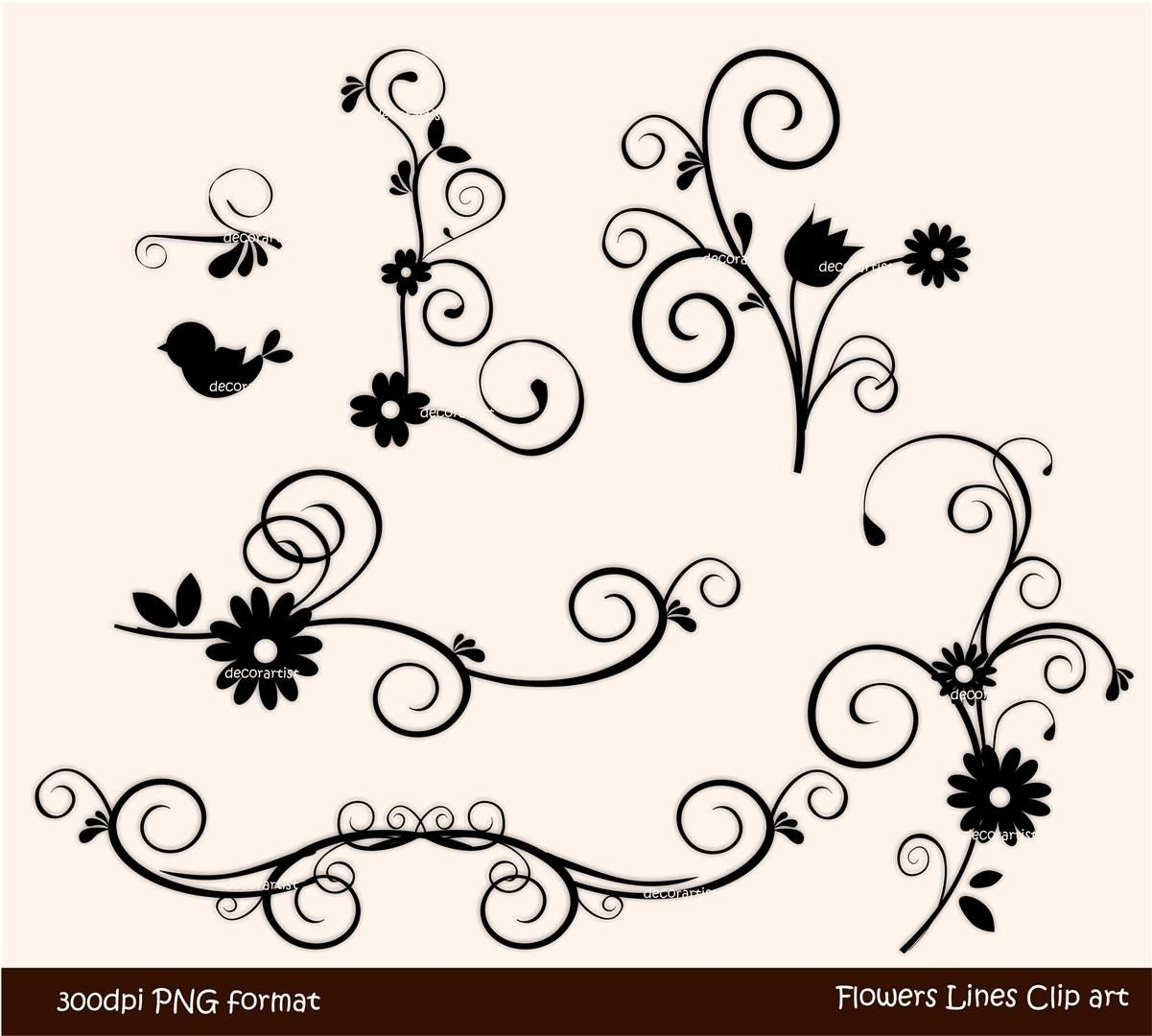 Flowers Black And White Clipart Border