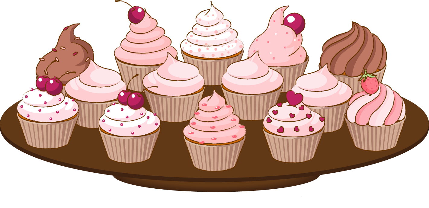Bake sale clip art of a cupcake with sprinkles cake