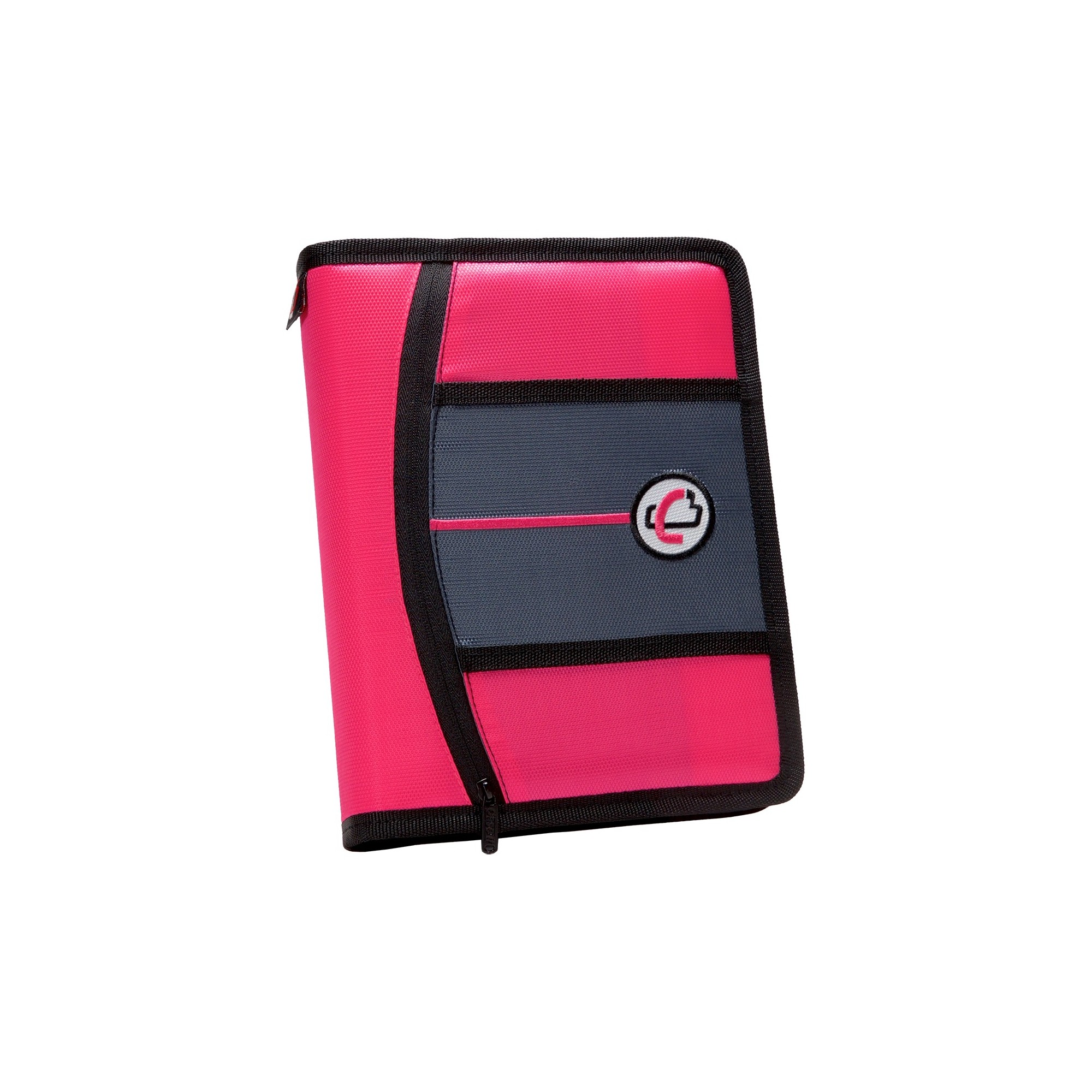 """Case•it 1"""" 3 Ring Binder With Zipper Cover 9 Pockets 5.5"""