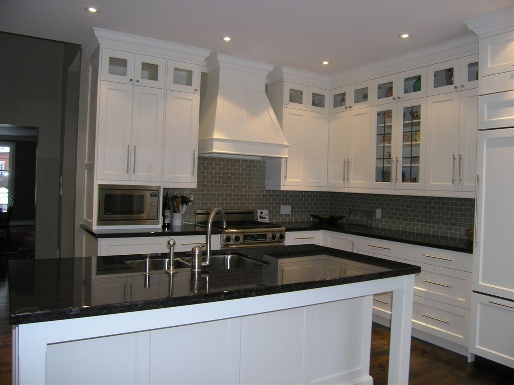 Transitional kitchen with stacked upper cabinets glass for Small upper kitchen cabinets