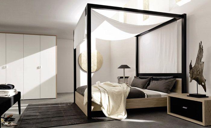 Strak hemelbed in een modern interieur de strakke lijnen stralen