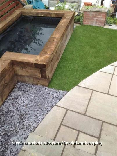 Railway Sleeper Pond Indian Sand Stone Patio Ponds Backyard Outdoor Fish Ponds Pond Water Features