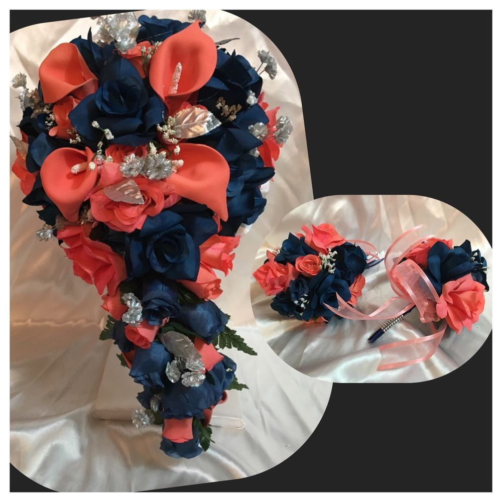 Navy Blue And Coral Wedding: Coral Navy Blue Marine Calla Lily Cascade Wedding Bridal