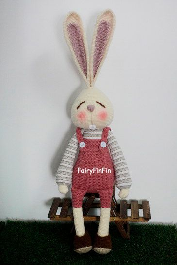 Crochet Large Rabbit doll by FairyFinFin on Etsy, $65.00