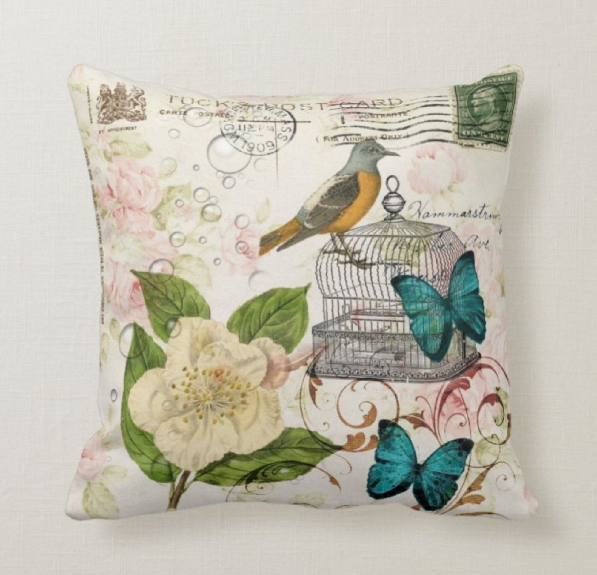 Floral Butterfly Pillow Casebird Pillow Coverdecorative Etsy Butterfly Throw Pillows Throw Pillows Pillows