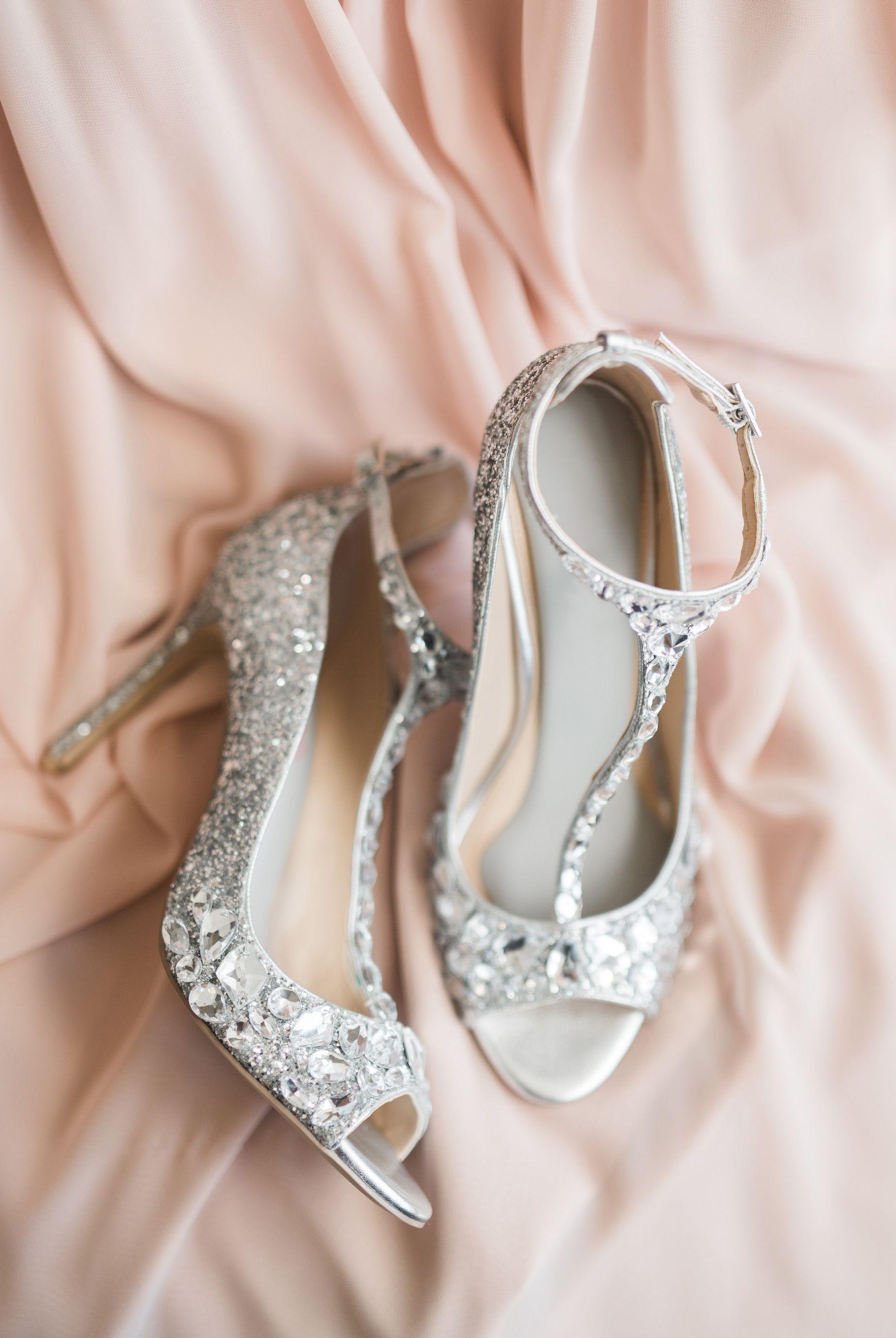0289504a41eb blinged out diamond bridal shoes heels stilettos on soft pink fabric Two  Birds Photography Brittany Walsh Fargo + Fergus Falls Minnesota Wedding ...