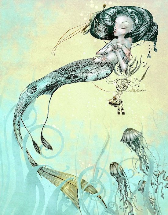 Nautical Print  - Mermaid Jellyfish -  Fantasy Art  Mermaid Print - Turquoise Green Yellow - giclée Fantasy Art Print  - Steampunk Mermaid - Martin Øbakke