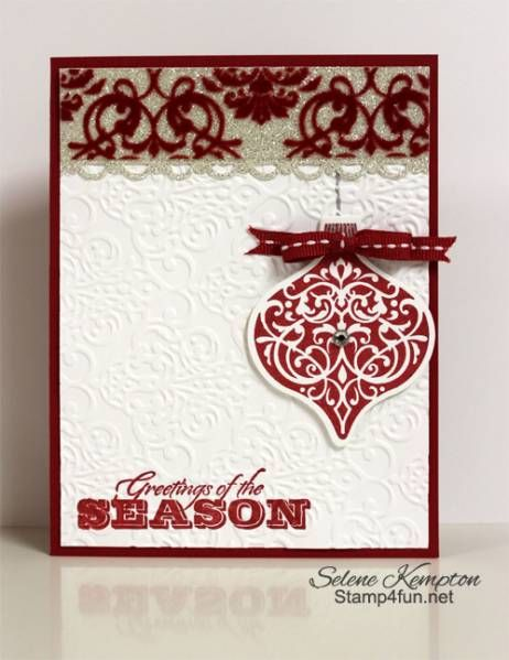 Sparkly Flocked Greetings of the Season by StampingSelene - Cards and Paper Crafts at Splitcoaststampers