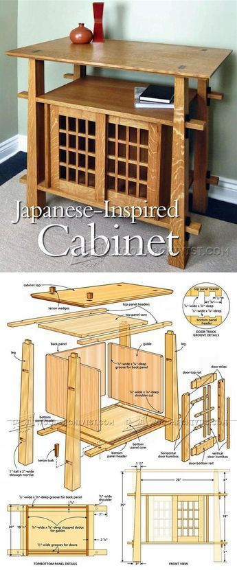 japanese wood furniture plans. Japanese Cabinet Plans - Furniture And Projects | WoodArchivist.com Wood U