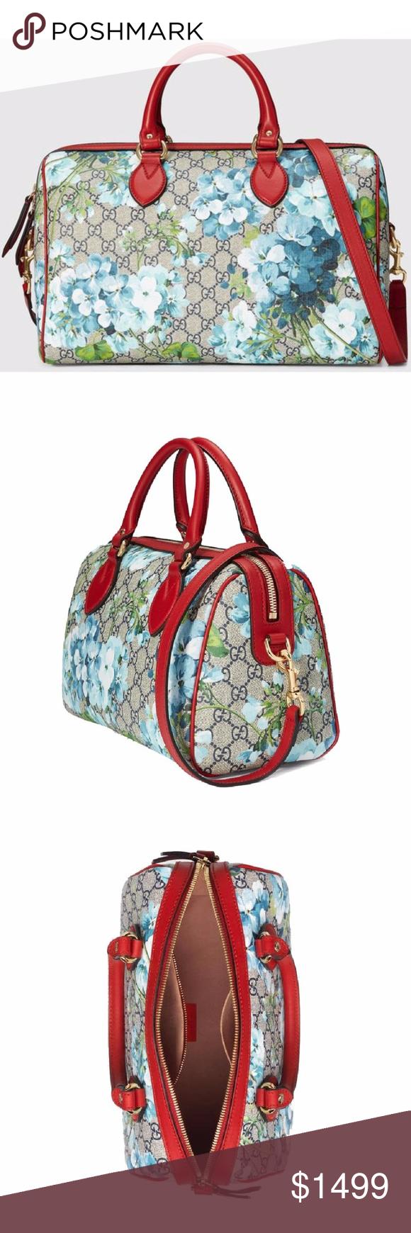 e5942bc95dc5 Gucci Blooms GG Supreme Top Handle Boston Bag Blooms print GG Supreme  canvas, made using