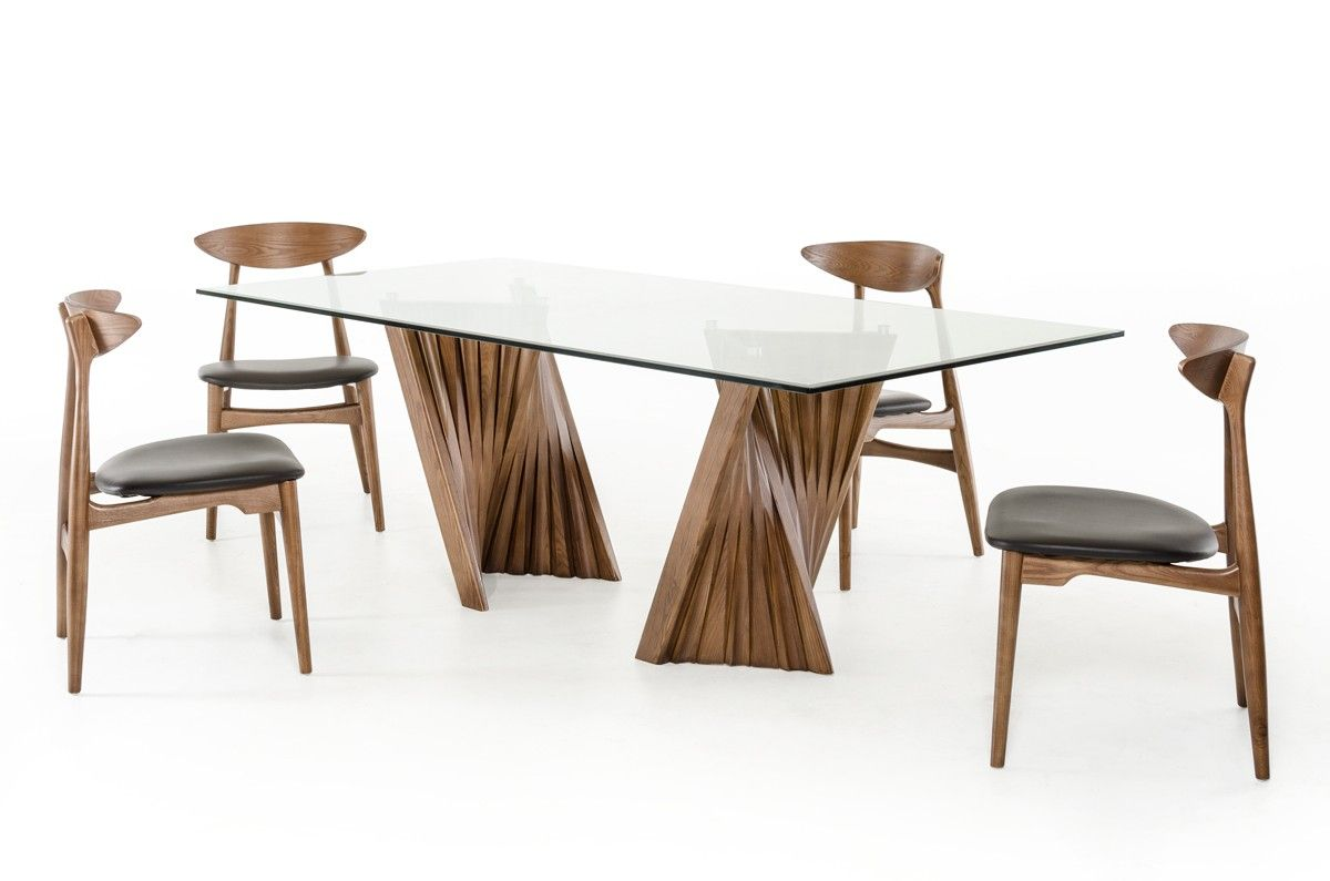 Sophisticated Walnut And Tampered Glass Dining Table Glass