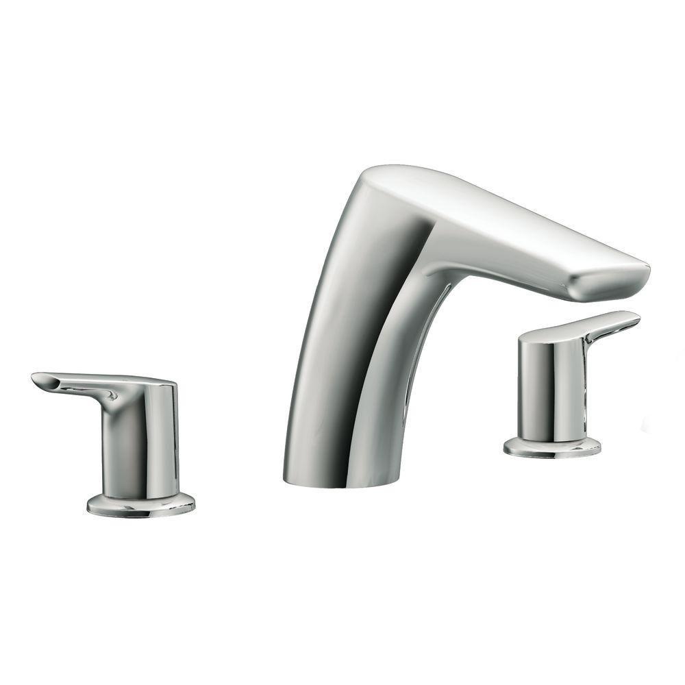 MOEN Method 2-Handle Low Arc Roman Tub Faucet in Chrome (Grey ...