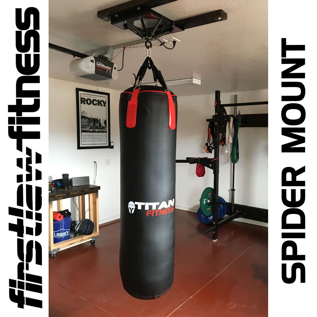 Another Spider Mount In A Great Looking Home Gym With A Titan Fitness Heavy Bag Betitanfit The Spider Mount Is The Best Heavy Bag Mount Heavy Bags Home Gym
